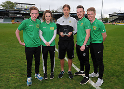 Yeovil Town's Sam Foley poses with one of his awards - Photo mandatory by-line: Harry Trump/JMP - Mobile: 07966 386802 - 25/04/15 - SPORT - FOOTBALL - Sky Bet League One - Yeovil Town v Port Vale - Huish Park, Yeovil, England.