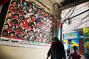 Posters of Palestinians killed by Lebanese malitia supported by Israel in Shatila refugee camp. The camp was set up in 1948 and thousands of Palestinians have lived there ever after.