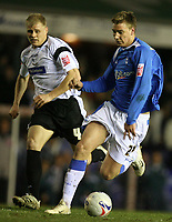 Photo: Rich Eaton.<br /> <br /> Birmingham City v Derby County. Coca Cola Championship. 09/03/2007.  JAmes McEveley left of Derby and Nicklas Bendtner of Birmingham