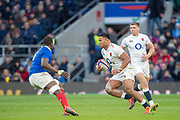 Twickenham, United Kingdom.   7th February, Manu TUILAGI, with the Ball, during the England vs France, 2019 Guinness Six Nations Rugby Match   played at  the  RFU Stadium, Twickenham, England, <br /> © PeterSPURRIER: Intersport Images