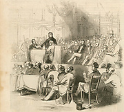 'Daniel O'Connor (1775-1847) 'The Liberator',  Irish political leader, addressing an anti-Corn Law meeting  in Covent Garden Theatre, 1844.  He campaigned for the right of Roman Catholics to sit in Parliament at Westminster.'