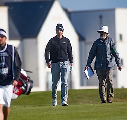 Tom Chaplin playing the first hole. Alfred Dunhill Links Championship this morning at Championship Course at Carnoustie.