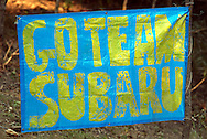 Subaru Fan Banner.2003 Falken Rally of Queensland.Imbul State Forest, QLD.13th-15th of June 2003 .(C) Joel Strickland Photographics