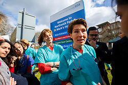 © Licensed to London News Pictures. 06/04/2016. London, UK. Cast of 'Green Wing' sitcom Pippa Haywood and Tamsin Greig join junior doctors of Northwick Park Hospital in north London at their picket line as junior doctors in England start the forth 48-hours strike in a dispute over pay, working hours and patient safety on Wednesday, 6 April 2016. Photo credit: Tolga Akmen/LNP
