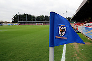 AFC Wimbledon corner flag and stand during the EFL Sky Bet League 1 match between AFC Wimbledon and Walsall at the Cherry Red Records Stadium, Kingston, England on 25 February 2017. Photo by Matthew Redman.