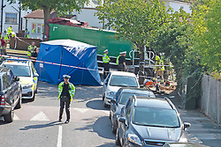 ©Licensed to London News Pictures 14/09/2020  <br /> Kidbrooke, UK.The green bin lorry. A bin lorry has crashed into multiple cars and a house in Kidbrooke, South East London. A number of people have been injured police, fire and ambulance are all on scene. credit:Grant Falvey/LNP