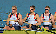 Sydney, Australia.  GBR M8+, right to left: Alex GREGORY, Pete REED, and Andrew TRIGGS HODGE,  Men's Eight Heat. FISA World Cup I. and the Sydney International Rowing Regatta. Sydney International Rowing Centre, Penrith Lakes, NSW.   Friday   22/03/2013 [Mandatory Credit. Peter Spurrier/Intersport Images]..