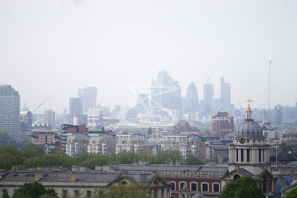 The City skyline is partially obscured by haze a day after Mayor of London Sadiq Khan announced the introduction of air toxicity alerts for the capital. London, February 10 2018.