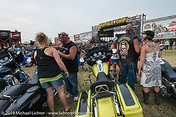 Concert goers arrive early before the Zach Brown band takes to the main stage at the Sturgis Buffalo Chip during annual Sturgis Black Hills Motorcycle Rally. SD, USA. August 4, 2014.  Photography ©2014 Michael Lichter.