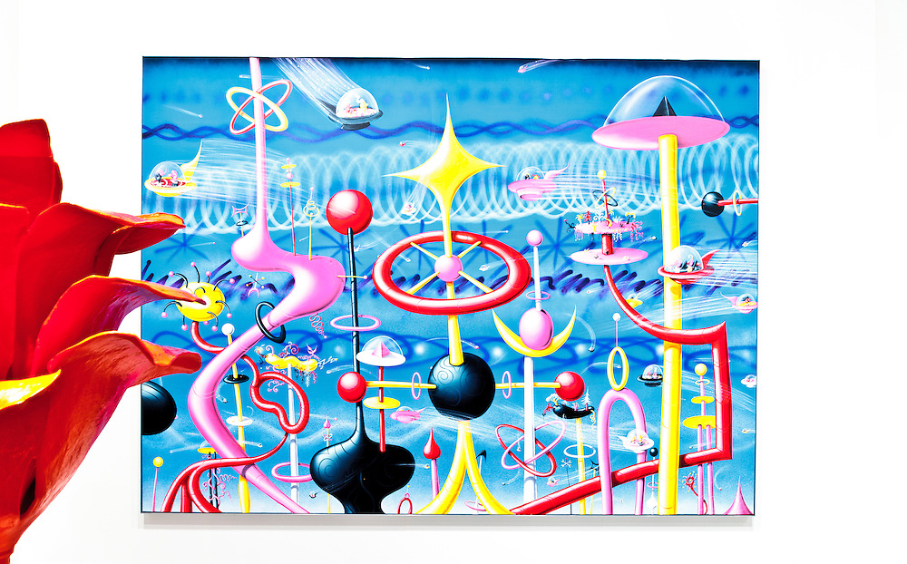 Painting by Kenny Scharf, asking price $225,000. And the painted aluminum rose is by Will Ryman, both at the Paul Kasmin Gallery booth at Art Basel Miami Beach 2011