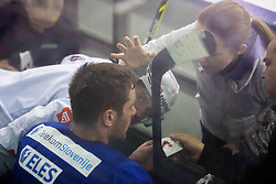 Injured Jan Urbas and Manca Marc Globevnik  during practice session of Slovenian National Ice Hockey Team prior to the IIHF World Championship in Ostrava (CZE), on April 21, 2015 in Hala Tivoli, Ljubljana, Slovenia. Photo by Vid Ponikvar / Sportida