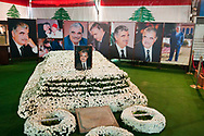 The grave of Rafik Hariri, a former Lebanese Prime Minister and business tycoon who was killed on February 14, 2005 by a powerful car bomb that targeted his motorcade in downtown Beirut. A Sunni Muslim born in 1944, he served as Prime Minister from 1992 to 1998 and again from 2000 until his resignation in October 2004.