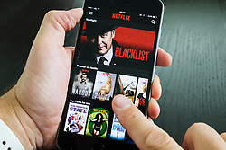 Homepage of Netflix on-demand Movie and TV streaming service app on iPhone 6 plus smart phone