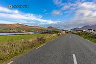 Slea Head Drive leads into small town of Ballyferriter on the Dingle Peninsula, Ireland