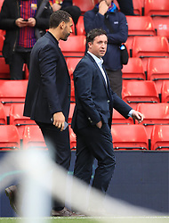 Rio Ferdinand (left) and Robbie Fowler prior to the UEFA Champions League Semi Final, second leg match at Anfield, Liverpool.