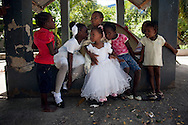 Children play on the grounds of the Salvation Army complex in Port-au-Prince, Haiti.  Dozens of families relocated to tents pitched at the compound when their homes were destroyed in the January 12 earthquake.
