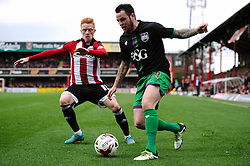 Lee Tomlin of Bristol City controls the ball under pressure from Ryan Woods of Brentford - Mandatory by-line: Dougie Allward/JMP - 16/04/2016 - FOOTBALL - Griffin Park - Brentford, England - Brentford v Bristol City - Sky Bet Championship