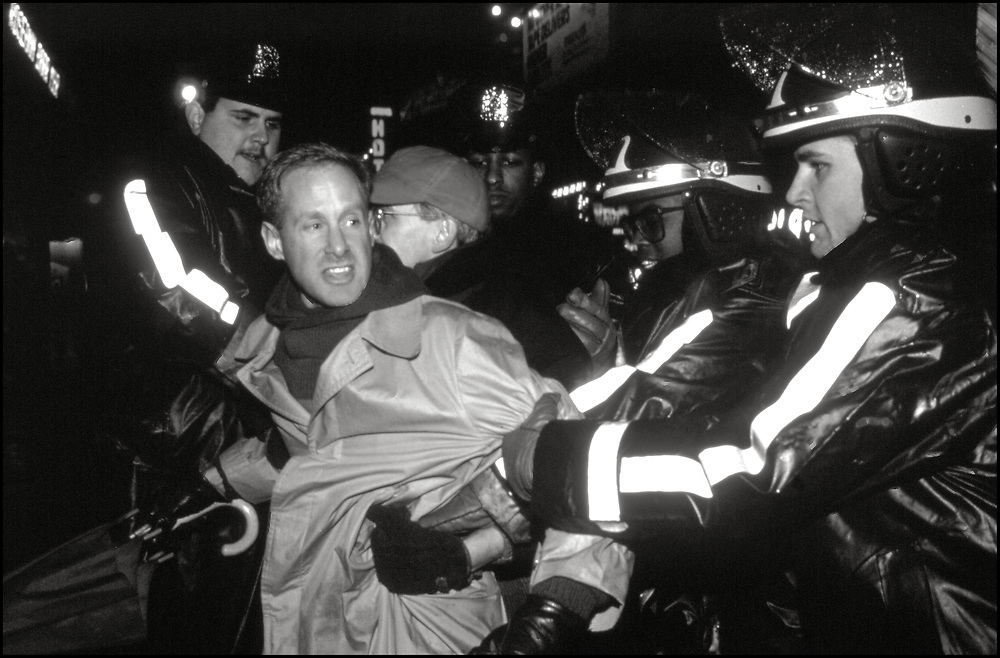 In January of 1990 ACT UP protested the selection of Dr. Woodrow Myers for NYC Commissioner of Health, by Mayor David Dinkins. When Myers was the Indiana State Health Commissioner he had attempted to implement mandatory HIV testing, partner tracing and quarantine.