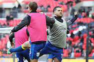 AFC Wimbledon attacker Harry Forrester (11) and AFC Wimbledon defender Paul Robinson (6) warming up during the The FA Cup 3rd round match between Tottenham Hotspur and AFC Wimbledon at Wembley Stadium, London, England on 7 January 2018. Photo by Matthew Redman.