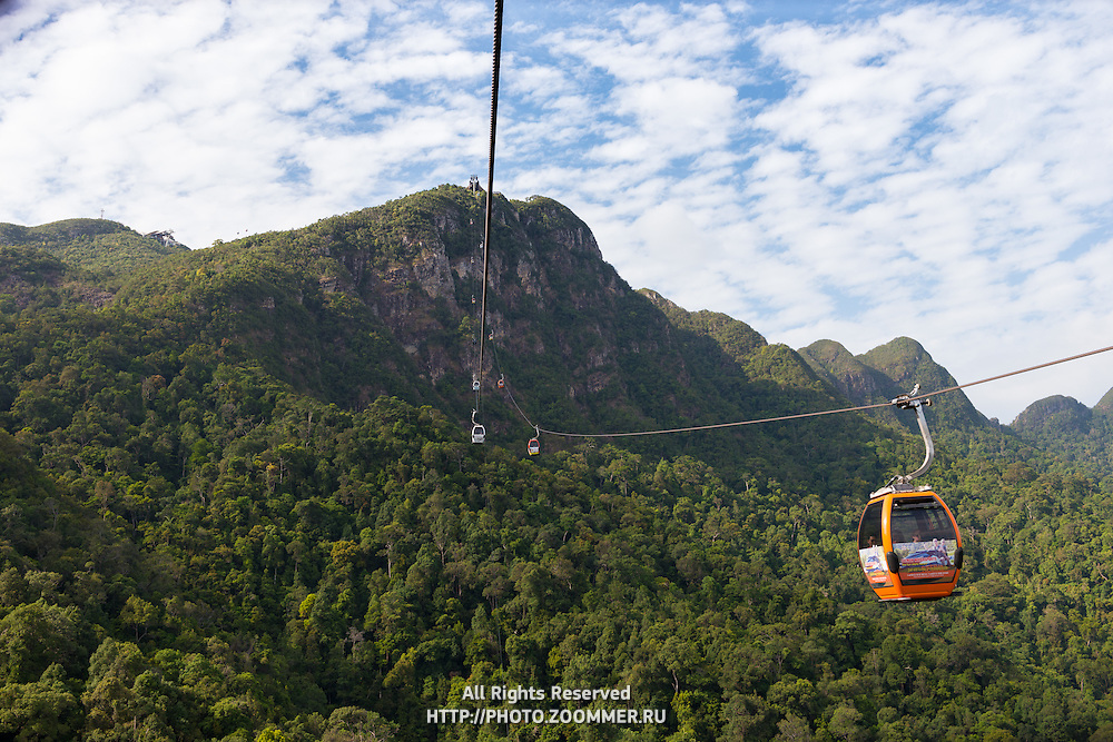 Cable car station and rope on Langkawi mount Gunung Machinchang, Langkawi, Malaysia