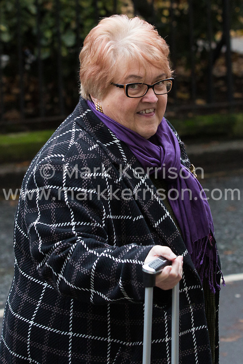 London, UK. 16 November, 2019. Wendy Nichols, Chair of the NEC, arrives at Labour's Clause V meeting. The Clause V meeting, chaired by the party leader and attended by members of the National Executive Committee (NEC), relevant Shadow Cabinet members and members of the National Policy Forum, will finalise the party's general election manifesto. The meeting is named after Clause V of the Labour Party rulebook.