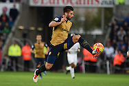 Olivier Giroud of Arsenal in action. Barclays Premier league match, Swansea city v Arsenal  at the Liberty Stadium in Swansea, South Wales  on Saturday 31st October 2015.<br /> pic by  Andrew Orchard, Andrew Orchard sports photography.