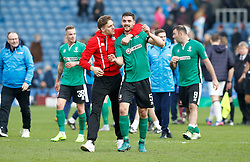 Lincoln City's Luke Waterfall celebrates after the final whistle of the Emirates FA Cup, Fifth Round match at Turf Moor, Burnley.