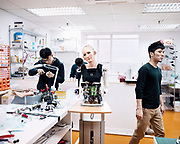 """The lab of Hanson Robotics in Hong Kong, the """" house of Sophia """" where the process of the making happens"""