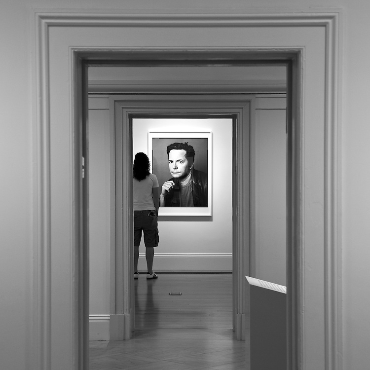 Steve Pyke's photograph of Michael J. Fox on view at the Smithsonian Institution's National Portrait Gallery in Washington, DC