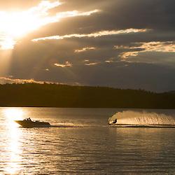 A water skier on Lake Winnepesauke.  Moultonboro Neck, Moultonboro, NH.
