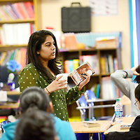 Teacher Swati Bhargava speaks to students during a lesson at Dowa Yalanne Elementary in Zuni Wednesday.