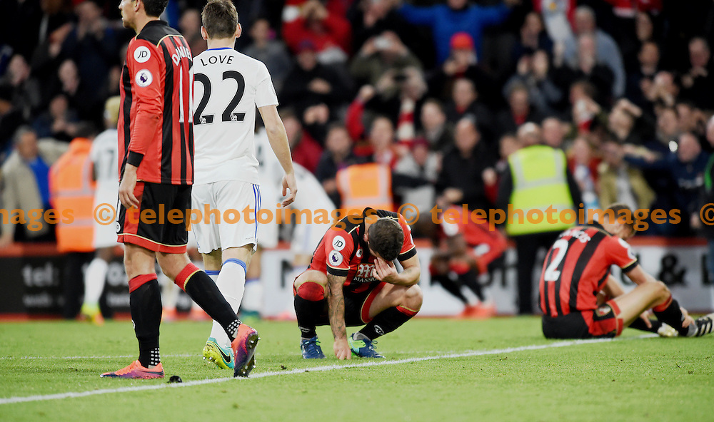Jack Wilshere of Bournemouth drops to his knees in anguish after losing the Premier League match between AFC Bournemouth and Sunderland AFC at the Vitality Stadium in Bournemouth. November 5, 2016.<br /> Simon  Dack / Telephoto Images<br /> +44 7967 642437