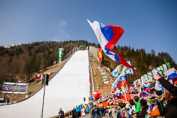 Slovenian national flag during the Ski Flying Hill Men's Team Competition at Day 3 of FIS Ski Jumping World Cup Final 2017, on March 25, 2017 in Planica, Slovenia. Photo by Grega Valancic / Sportida