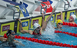October 4, 2018 - Budapest, Hungary - Hosszu Katinka of Hungary looks on after she competes and wins the Womens 100m Individual Medley on day one of the FINA Swimming World Cup held at Duna Arena Swimming Stadium on Okt 04, 2018 in Budapest, Hungary. (Credit Image: © Robert Szaniszlo/NurPhoto/ZUMA Press)