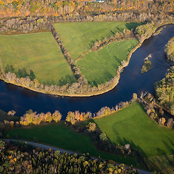 An aerial view of farms and the Connecticut River in Maidstone, Vermont and Stratford, New Hampshire.