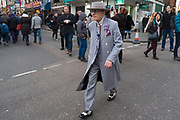 Eldery gentleman wearing a Zoot Suit during Chinese New Year celebrations in central London, United Kingdom. Tens of thousands of people gathered in the West End filling the streets and joining in with the festival atmosphere. (photo by Mike Kemp/In Pictures via Getty Images)