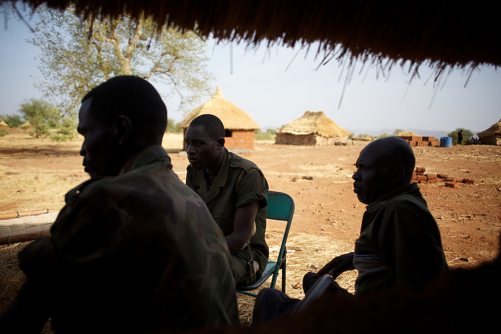 May 01, 2012 - Kauda, Nuba Mountains, South Kordofan, Sudan: Sudan People?s Liberation Movement (SPLA-N) rebel soldiers talk about their injures, claimed to be caused by the exposure to chemical weapons used by the Sudan's Armed Forces (SAF) during combat in the rebel-held territory of the Nuba Mountains in South Kordofan. The soldiers claim to be paralyzed for more than 10 hours after been hit by an explosion of a white smoke grenade...SPLA-North, a historical ally of SPLA, South Sudan's former rebel forces, has since last June being fighting the Sudanese Army Forces (SAF) over the right to autonomy and of the end of persecution of Nuba people by the regime of President Bashir. (Paulo Nunes dos Santos/Polaris)