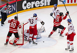 12.05.2013, Globe Arena, Stockholm, SWE, IIHF, Eishockey WM, Kanada vs Tschechische Republik, im Bild Canada Kanada 19 Justin Schultz, Canada Kanada 90 Ryan O'reilly, jubel glädje lycka glad happy // during the IIHF Icehockey World Championship Game between Canada and Czech Republic at the Ericsson Globe, Stockholm, Sweden on 2013/05/12. EXPA Pictures © 2013, PhotoCredit: EXPA/ PicAgency Skycam/ Johan Andersson..***** ATTENTION - OUT OF SWE *****