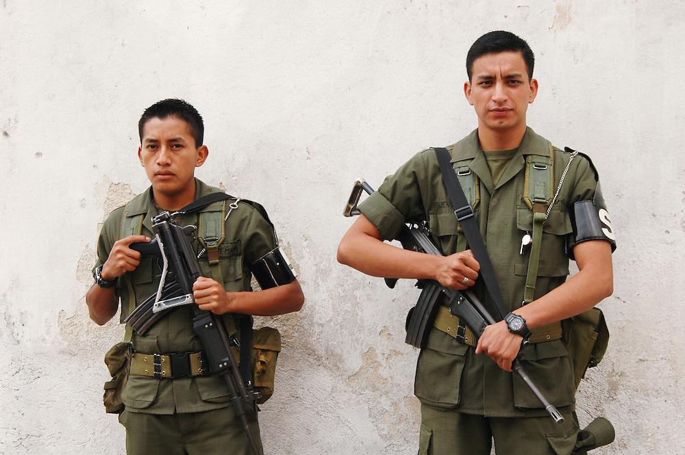 Guatemalan soldiers in downtown Antigua, Guatemala.