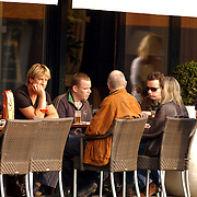 NLD/Amsterdam/20051008 - Wim Kieft op een terras met partner Sylvia