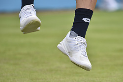 June 19, 2018 - London, England, United Kingdom - Detail shoes of Damir Dzumhir (BIH) during the play against Bulgaria's Grigor Dimitrov during their in the first singles match on day two of Fever Tree Championships at Queen's Club, London on June 19, 2018. (Credit Image: © Alberto Pezzali/NurPhoto via ZUMA Press)