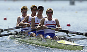 """©  Peter Spurrier Sports Photo<br /> email pictures@rowingpics.com<br /> tel +44 (0)7973 819551<br /> Photo Peter Spurrier<br /> 10/08/2002<br /> Sport - Rowing<br /> World Junior Rowing Championships""""A"""" Finals <br /> GBR JM4-  Silver medalist<br /> Bow  Samual Parker, Thomas James, Jack Tarrell and Jonathan Smith-Willis."""