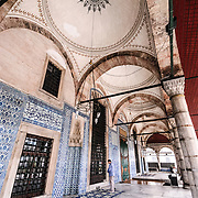 Main entrance of Istanbul's Rustem Pasha Mosque near the Spice (Egyption) Market.