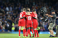 Liverpool players celebrate their win after the final whistle. Premier league match, Chelsea v Liverpool at Stamford Bridge in London on Friday 16th September 2016.<br /> pic by John Patrick Fletcher, Andrew Orchard sports photography.