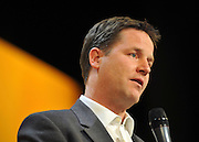 © Licensed to London News Pictures. 19/09/2011. BIRMINGHAM, UK.  Nick Clegg, Deputy Prime Minister question and answer session at the Liberal Democrat Conference at the Birmingham ICC today (19 Sept 2011): Stephen Simpson/LNP . Photo credit : Stephen Simpson/LNP