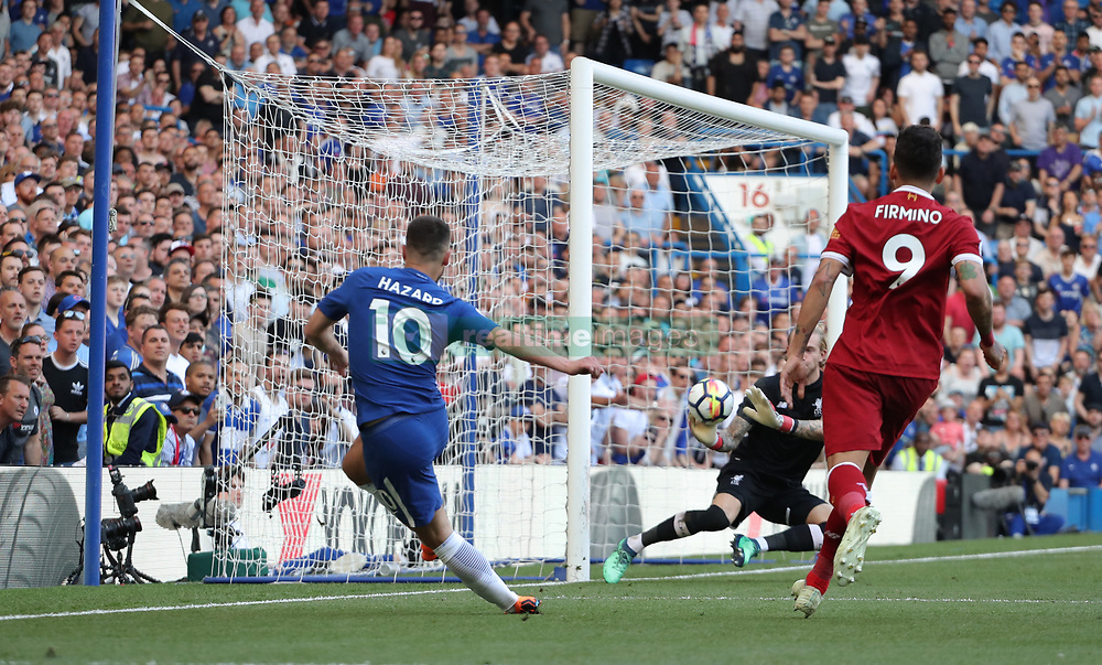 May 6, 2018 - London, Greater London, United Kingdom - Eden Hazard of Chelsea takes a shot at goal, saved by Loris Karius of Liverpool during English Premier League match between Chelsea and Liverpool at Stamford Bridge, London, England on 6 May 2018. (Credit Image: © Kieran Galvin/NurPhoto via ZUMA Press)