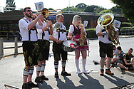 Band playing after the game during the Pre-Season Friendly match between AFC Wimbledon and Queens Park Rangers at the Cherry Red Records Stadium, Kingston, England on 14 July 2018. Picture by Matthew Redman.