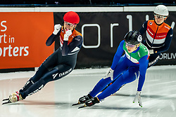 The Worldchampion title stays in Netherlands. Suzanne Schulting of Netherlands win the 500 meter during ISU World Short Track speed skating Championships on March 06, 2021 in Dordrecht