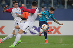 November 23, 2017 - Russia - midfielder Nikola Gligorov of FC Vardar, midfielder Boban Nikolov of FC Vardar and midfielder Emiliano Rigoni of FC Zenitduring UEFA Europa League Football match Zenit - Vardar. Saint Petersburg, November 23,2017 (Credit Image: © Anatoliy Medved/Pacific Press via ZUMA Wire)