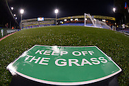 a Keep off the Grass sign on pitch side at Selhurst Park before k/o. Barclays Premier league match, Crystal Palace v Sunderland at Selhurst Park in London on Monday 23rd November 2015.<br /> pic by John Patrick Fletcher, Andrew Orchard sports photography.